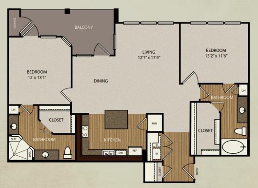 1,240 sq. ft. B3a floor plan