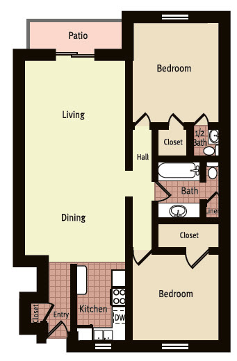 924 sq. ft. F floor plan