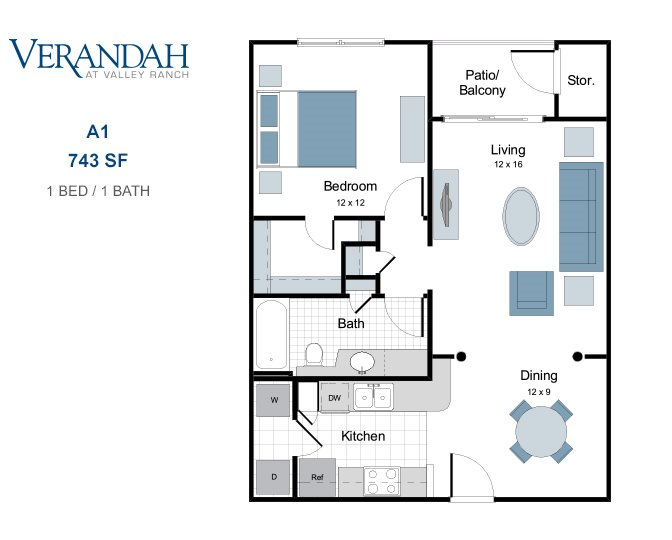 743 sq. ft. A1 floor plan