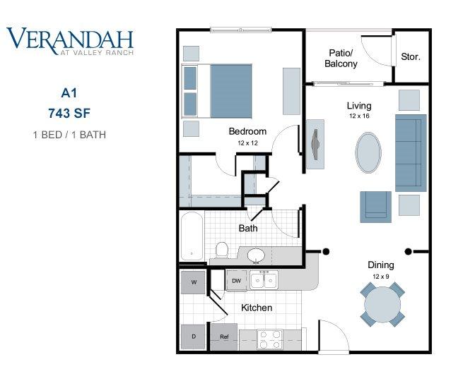 743 sq. ft. A1 floor plan