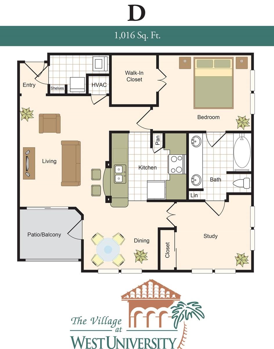 1,016 sq. ft. D floor plan