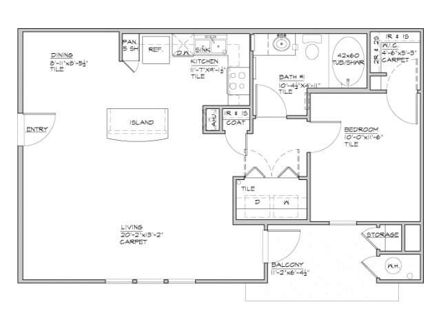 746 sq. ft. Catano floor plan
