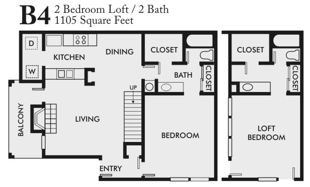 1,105 sq. ft. B4 floor plan