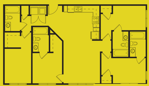 1,301 sq. ft. Dewey floor plan