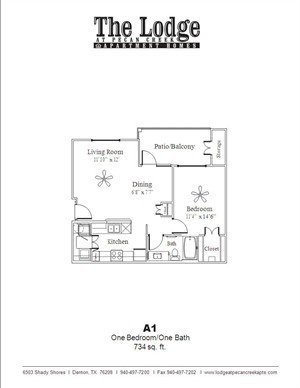 734 sq. ft. A1 floor plan