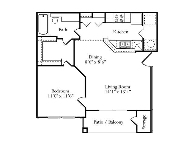 629 sq. ft. Laurel floor plan