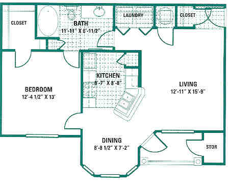 800 sq. ft. A2 floor plan