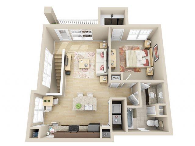 823 sq. ft. A8c floor plan