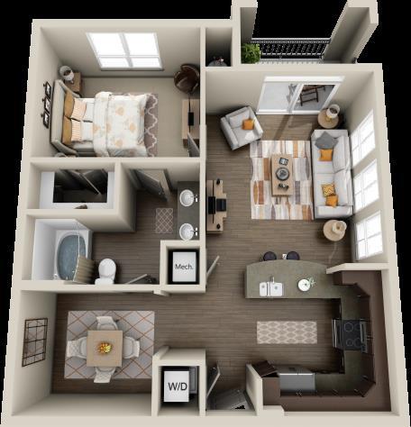 812 sq. ft. Cypress floor plan