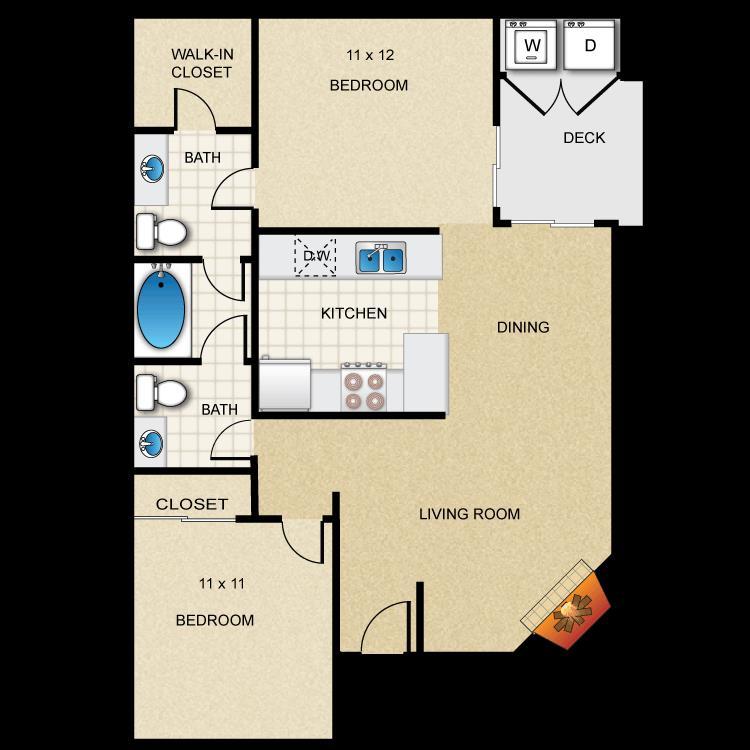 889 sq. ft. B1 floor plan
