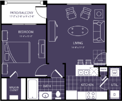 652 sq. ft. Halo floor plan