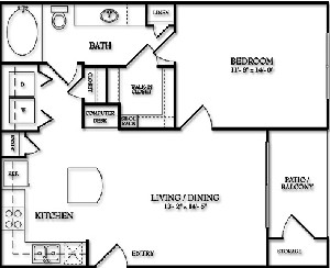 664 sq. ft. Bellemeade floor plan