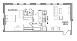 727 sq. ft. 1x1 E floor plan