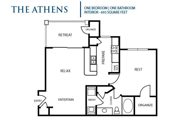 693 sq. ft. Athens floor plan
