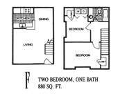 880 sq. ft. F floor plan