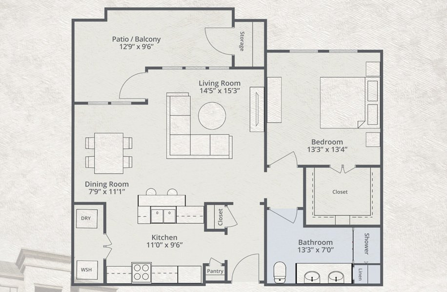 1,040 sq. ft. to 1,086 sq. ft. Virgin America floor plan