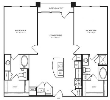 1,222 sq. ft. B12-1 floor plan