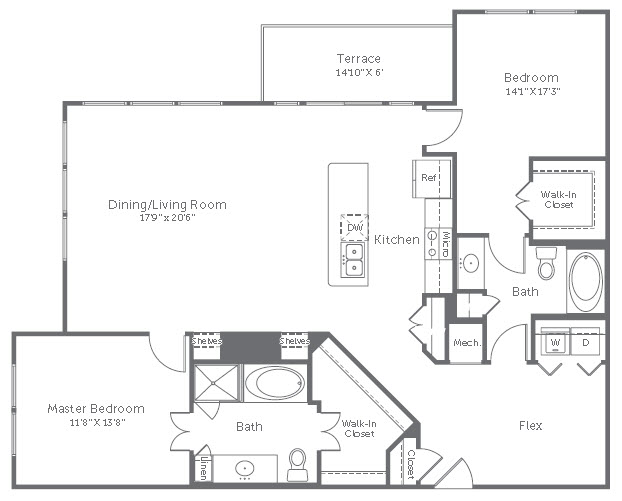 1,440 sq. ft. B6 floor plan