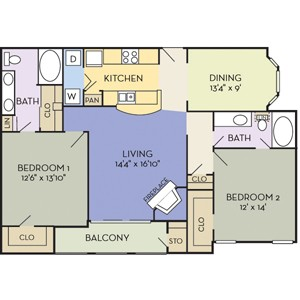 1,320 sq. ft. Granbury (B2B) floor plan