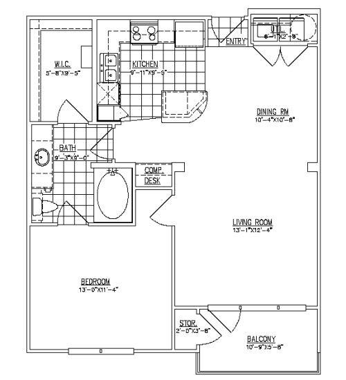 761 sq. ft. Havard I floor plan