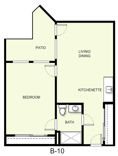 706 sq. ft. B10 floor plan