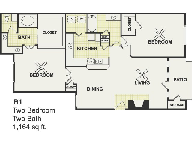 1,164 sq. ft. Excel floor plan