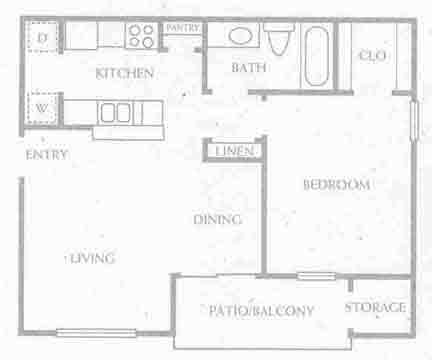 654 sq. ft. A1-60% floor plan