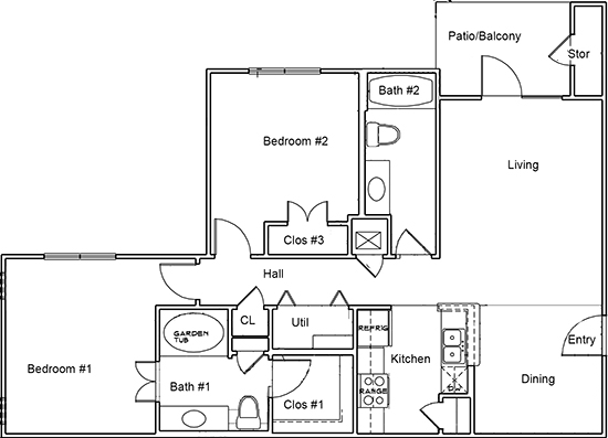 1,183 sq. ft. B1 floor plan