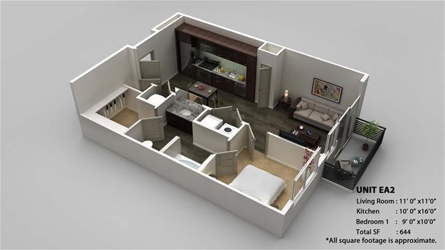 644 sq. ft. EA2 floor plan