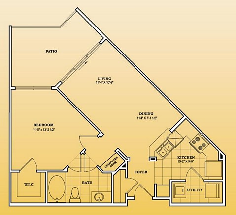 688 sq. ft. A1-101,201,301 floor plan