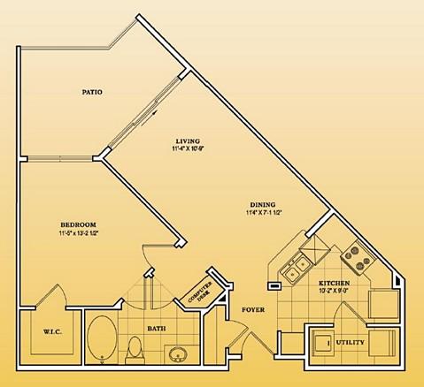 688 sq. ft. A1-101,201,301 floor plan