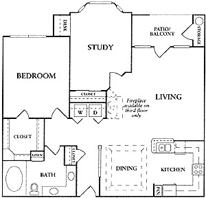 1,000 sq. ft. B floor plan