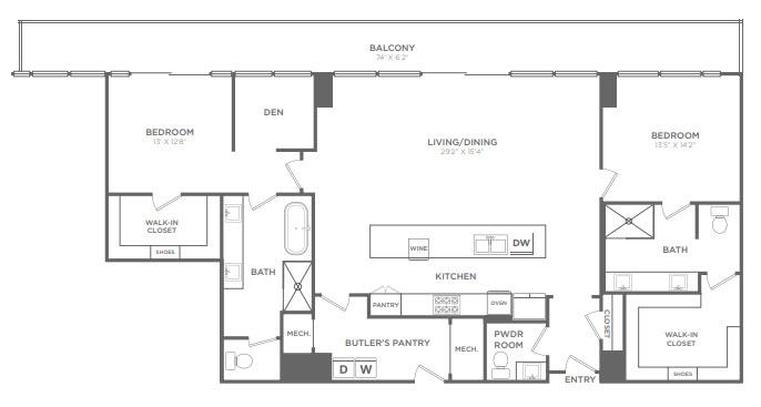 1,985 sq. ft. PH2 floor plan