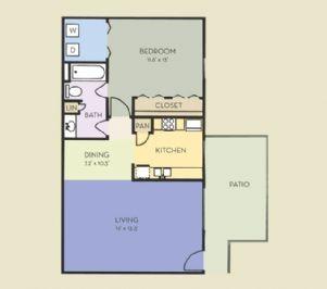 700 sq. ft. A2 floor plan