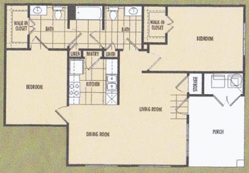 1,079 sq. ft. Flora 60% floor plan