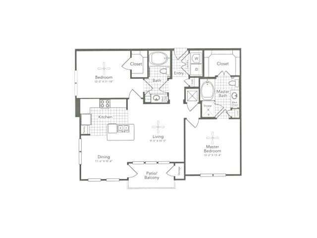 1,128 sq. ft. B2 East floor plan