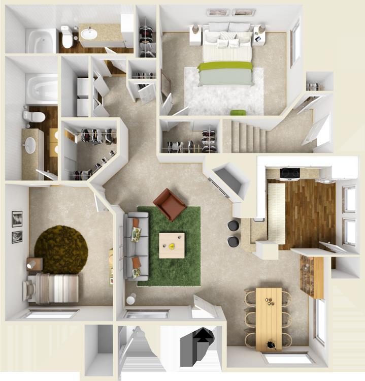 1,184 sq. ft. E floor plan