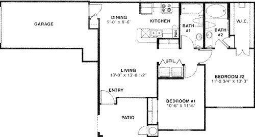 941 sq. ft. 50 floor plan