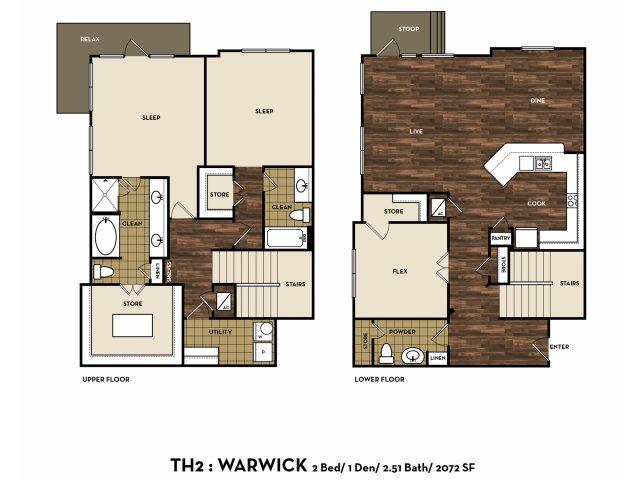 2,072 sq. ft. TH2: Warwick floor plan