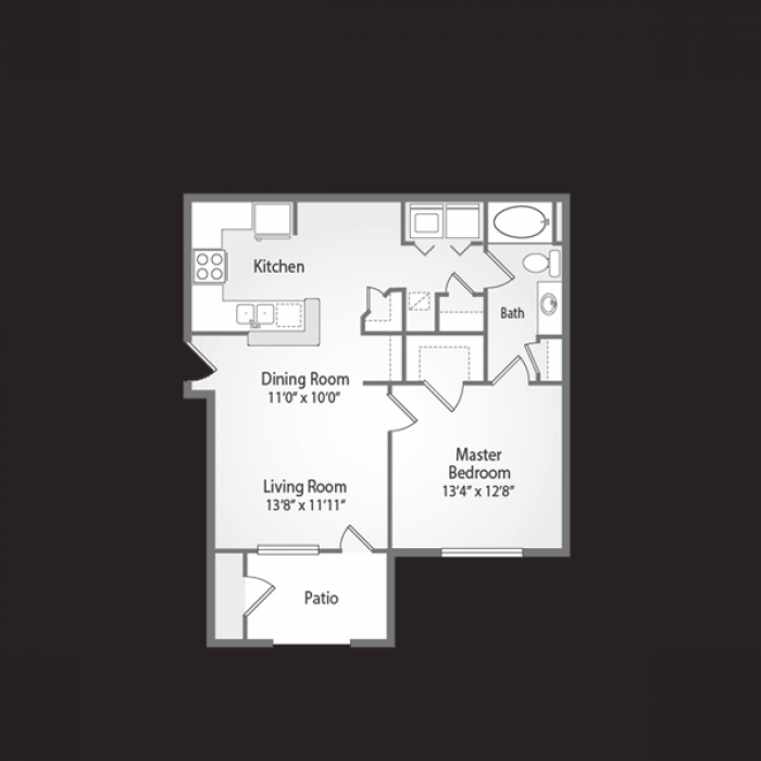 648 sq. ft. RIVIERA floor plan