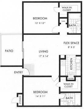 947 sq. ft. floor plan