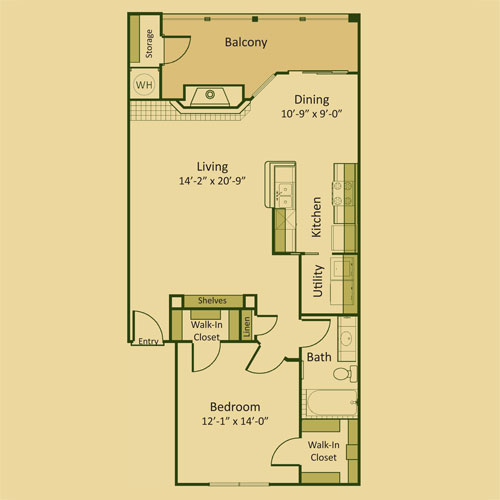 888 sq. ft. 1B-FP floor plan