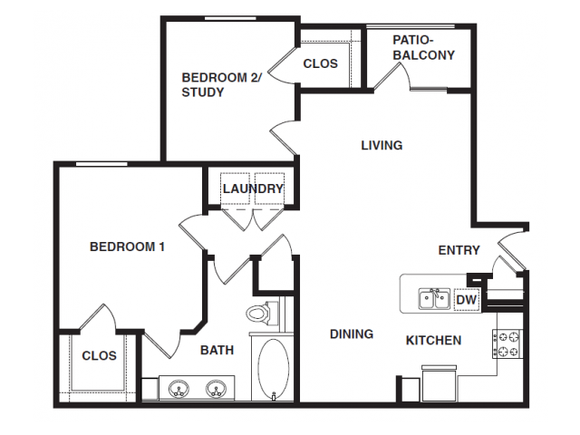 939 sq. ft. B1 floor plan