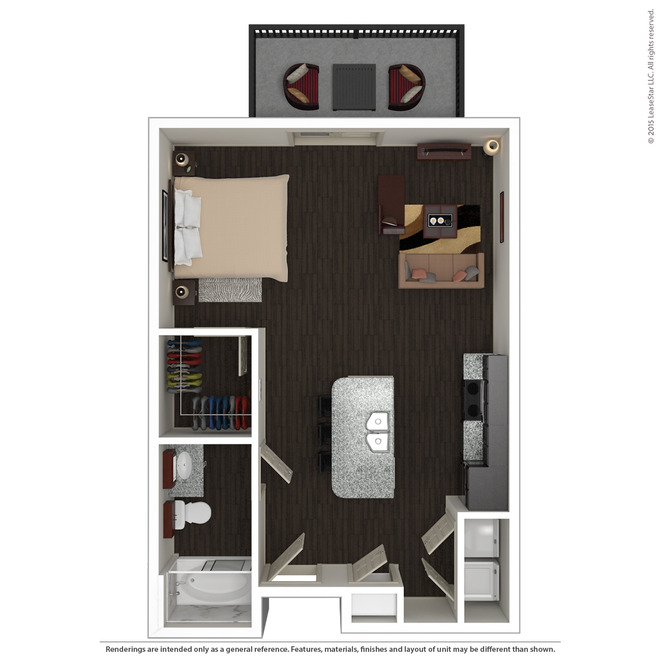598 sq. ft. E1 floor plan