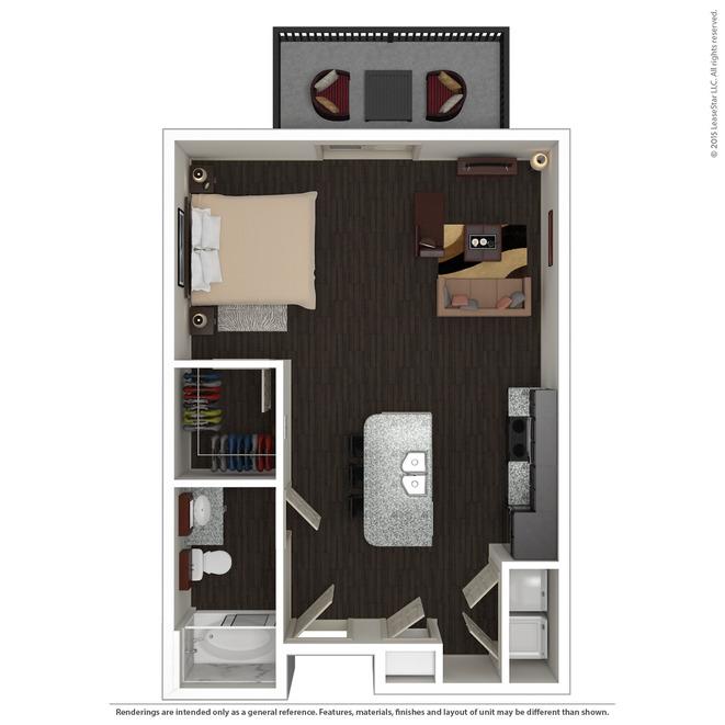 598 sq. ft. E1 floor plan