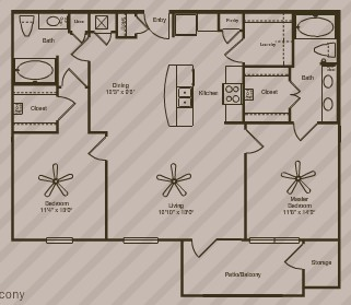 1,115 sq. ft. Cosmos floor plan