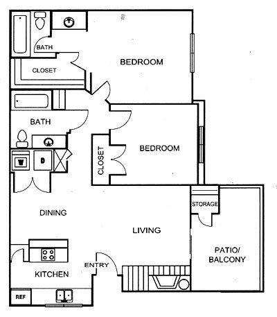 902 sq. ft. B3 floor plan