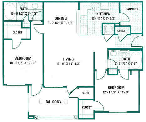 1,075 sq. ft. B2 floor plan