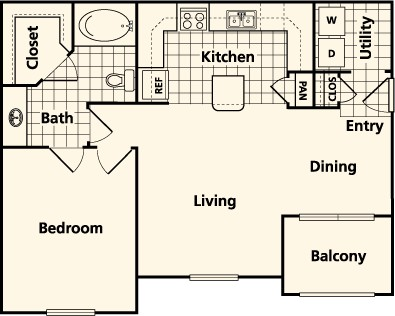 773 sq. ft. to 780 sq. ft. BG1 floor plan