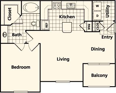773 sq. ft. to 780 sq. ft. B1 floor plan